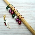 White Colourful Parrot  Bead Hugging Stitch Markers   Knitting Accessories