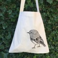 Screen printed Scarlet robin calico shopping bag