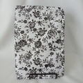 Quilted Fabric Notebook Cover  -  Black and White Flowers