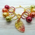 Falling Leaves Bead Hugging Stitch Markers | Knitting Accessories