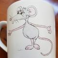 Hand painted bone china RATS mug
