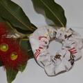 Grey Australian Animal and Flower Scrunchie