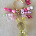 Easter Bunny Keyring - Yellow, Pink/Clear
