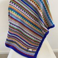"Blue""Sheep"" Baby Blanket - Hand knitted in pure wool"