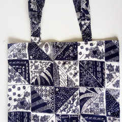 Reusable Fabric Tote Bag- Blue and White Pattern