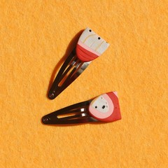 Bright Red Statement hair clips / Polymer Clay clips / hair accessories / Colour
