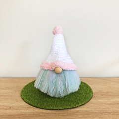 Easter Gnome with Pink and White Hat
