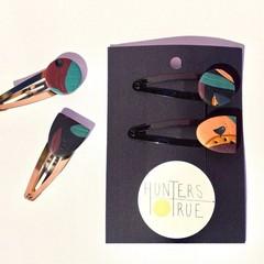 Dark Tropics Hair Clip set / Statement Hair Clips / Burnt Orange / Polymer Clay