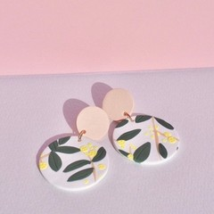 Wattle Blush Statement Earrings / Polymer Clay Earrings / Australiana / Clip On