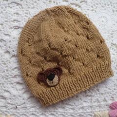 Baby beanie with eyelet pattern & crochet teddy bear, NB - 4 mths; 4-ply wool