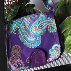 Over-shoulder small market bag & detachable coin purse - Paisley Purple