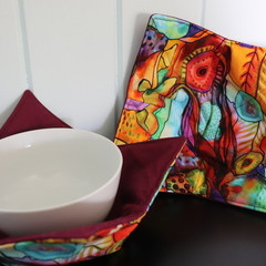 Bowl Cosies- Funky Garden with Maroon