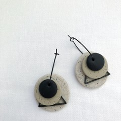 TEXTURE Hoops (Sand + Taupe + Black) Stackable Statement Dangles