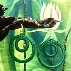 Double Hoop Crochet Earrings - Emerald Green