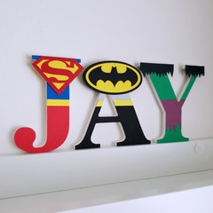 Name Plaque for Wall or Door. 9cm Super Hero Theme. 3 letters