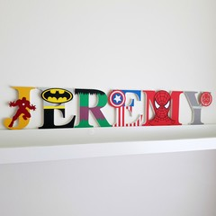 Name Plaque for Wall or Door. 9cm Super Hero Theme. 6 letters