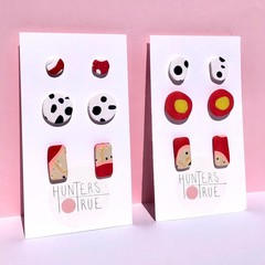 Red Pink Stud Multi Pack / Polymer Clay Earrings / Everyday Earrings / studs / A