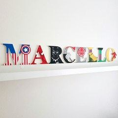 Name Plaque for Wall or Door. 9cm Super Hero Theme. 8 letters