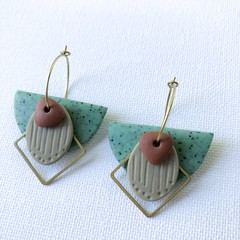 TEXTURE Hoops (Moss + Taupe + Terracotta) Stackable Statement Dangles