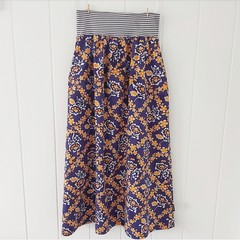 Ladies skirt with pockets - vintage navy and orange