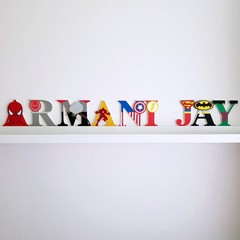 Name Plaque for Wall or Door. 9cm Super Hero Theme. 9 letters