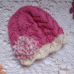 Baby girl's lacy beanie with chiffon flower; 3 - 6 months;  5-ply wool