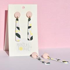 Wattle Blush Tapered Dangles / Australian Native / Handmade Earrings / Polymer C