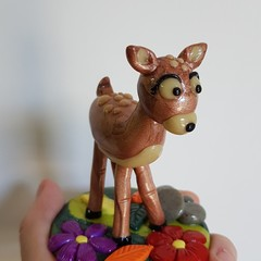 Polymer clay deer ornament - glow in the dark