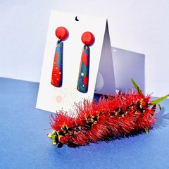 Bottle Brush Tapered Drop Earrings / Australian Native Earrings