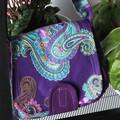Over-shoulder small market bag & detachable coin purse - Paisley Purple