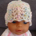 Baby girl's beanie w crochet flower; fits to 4 mths; 5-ply cotton mix yarn