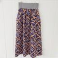 Ladies skirt with pockets - vintage navy and orange