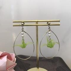 ORIGAMI Crane Earrings (Light Green)