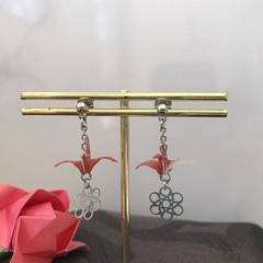 ORIGAMI Crane Earrings (Orange)