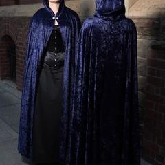 Long Dark Blue Velour Cloak