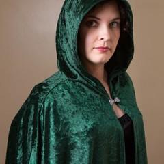 Velour Cloak Medium Length Emerald Green