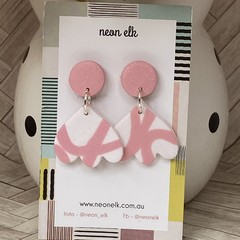 Polymer Clay Earrings - Pink and White glitter with Pink top