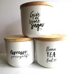 RESIN COFFEE  TEA SUGAR SET - DIY YOUR LID COLOURS ,