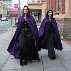 Medium Length Dark Purple Velour Cloak