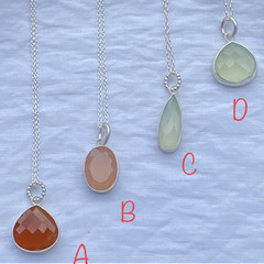 Genuine Stirling Silver And Chalcedony Gemstone Pendant Necklace