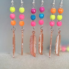 Boho Howlite Feather Earrings ~ 3 pairs Available.