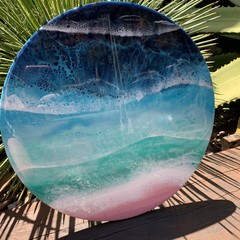"""Pearly Waters"" Resin Wall Art"