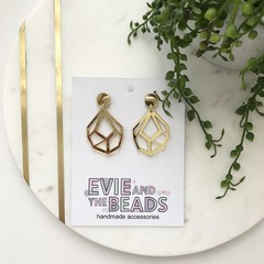 Silver or Gold Mirror Geo Dangle Earrings