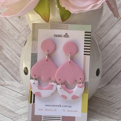 Polymer Clay Earrings - Pink glitter tulips with white arches