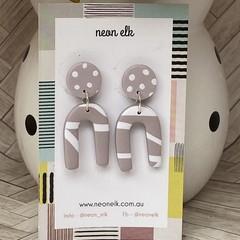 Polymer Clay Earrings - Mauve and White 'U' Shape with Polka Dot Top