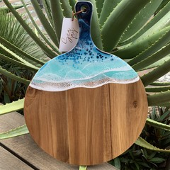 Round Acacia Wood Paddle Board with Resin Art