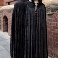Long Black Velour Cloak