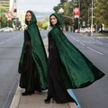 Long Emerald Green Velour Cloak