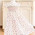 294 Hand-smocked off-white cotton voile dress, age 2 to 3
