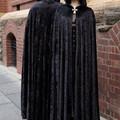 Medium Length Black Velour Cloak